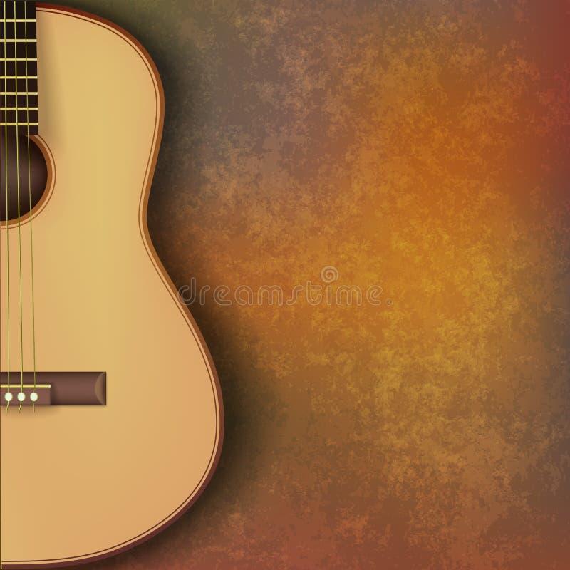 De abstracte achtergrond van de grungemuziek met gitaar op bruin vector illustratie