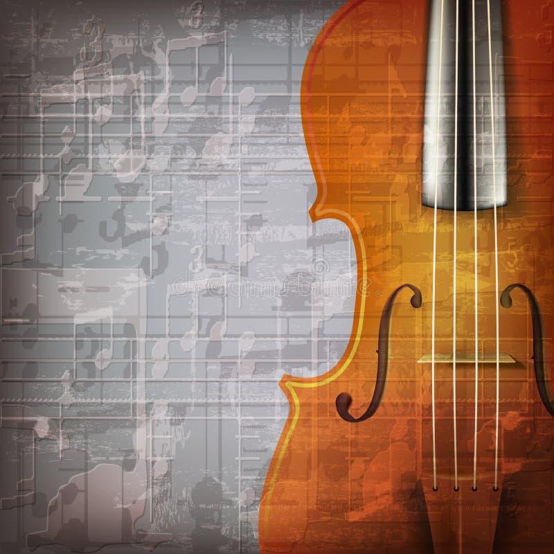 De abstracte achtergrond van de grungemuziek met viool stock illustratie