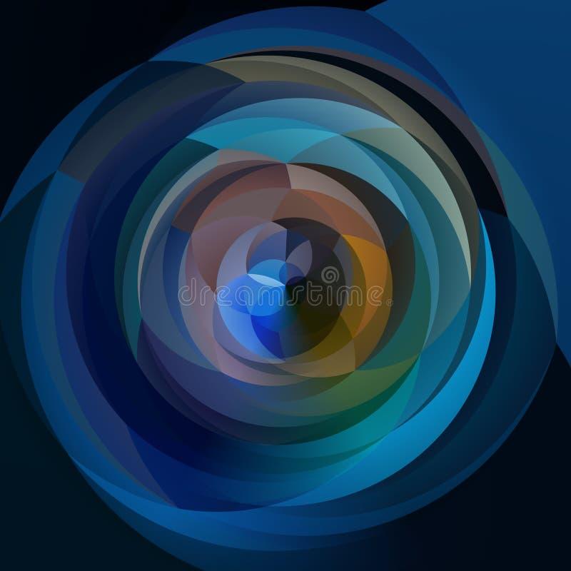 De abstracte achtergrond van de kunst geometrische werveling - gekleurd donkerblauw vector illustratie