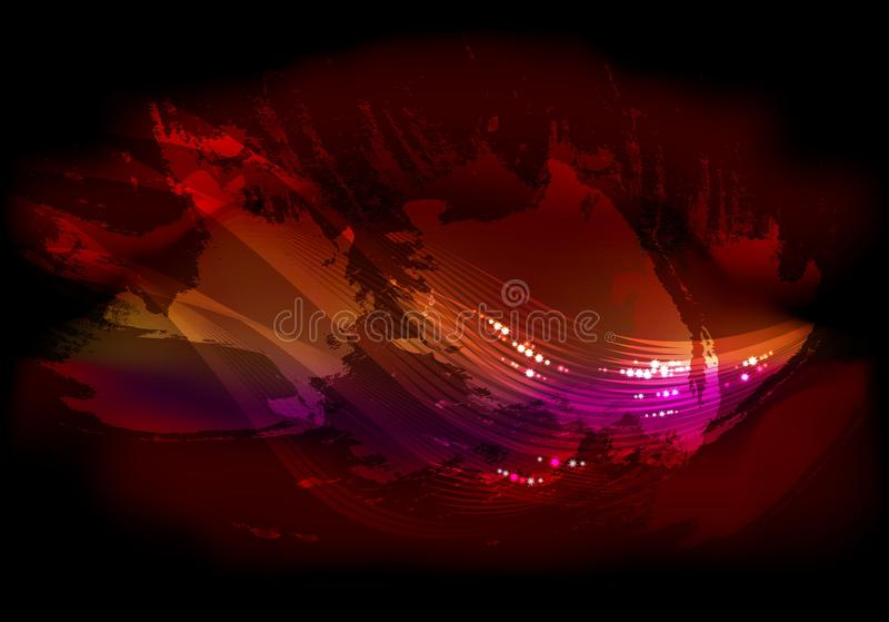 De abstracte achtergrond van de nachthemel met schittert en lijnen in de wolken EPS10 vectorillustratie stock illustratie