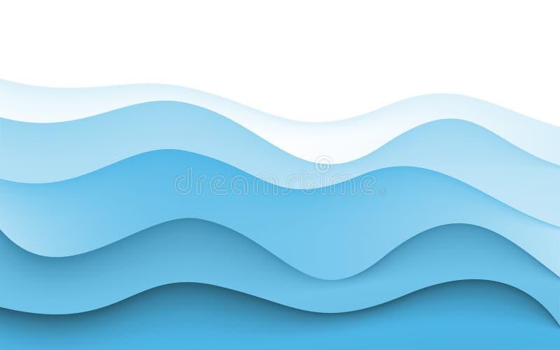De abstracte Achtergrond van de Ontwerpcreativiteit van Blauwe Golven Vector vector illustratie
