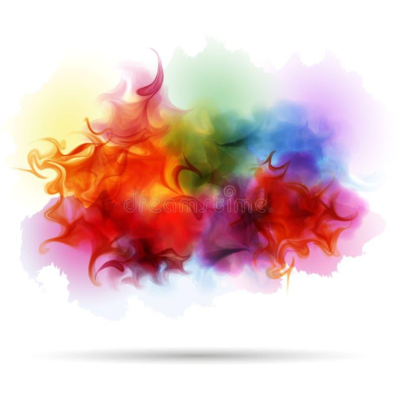 De abstracte achtergrond van de plons kleurrijke rook stock illustratie