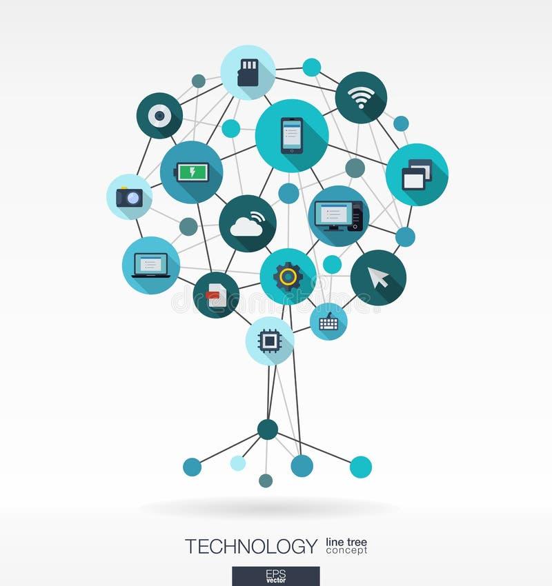 De abstracte Achtergrond van de Technologie Het concept van de de groeiboom royalty-vrije illustratie
