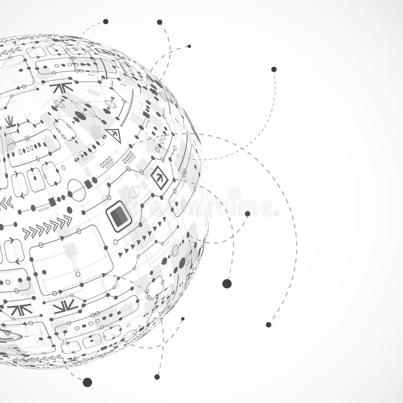 De abstracte achtergrond van de technologiebol vector illustratie