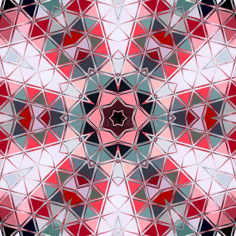 De abstracte achtergrond van de driehoeks kleurrijke cirkel Mozaïek rode witte grijze ronde stock afbeelding