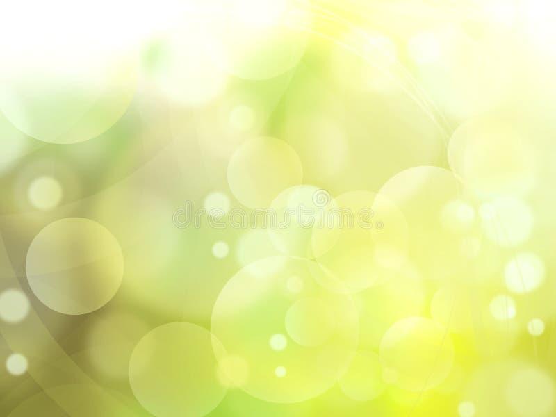 De abstracte achtergrond van groen lichtbellen royalty-vrije illustratie