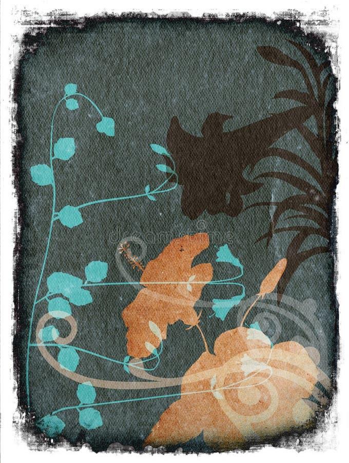 De abstracte achtergrond van Grunge met bloemen vector illustratie