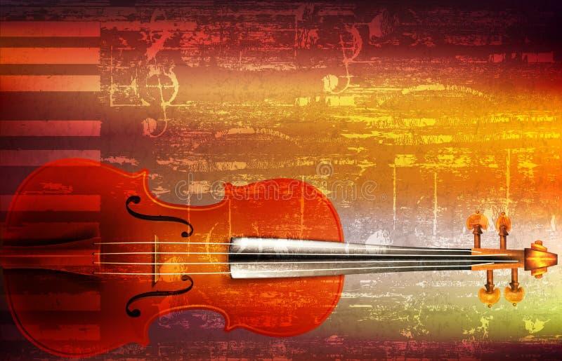 De abstracte achtergrond van de grungemuziek met viool stock afbeelding