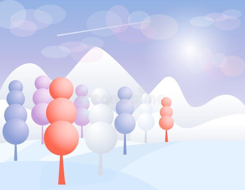 De abstracte achtergrond van het aardlandschap met silhouetten van bergen en bomen Surreal vectorillustratie vector illustratie