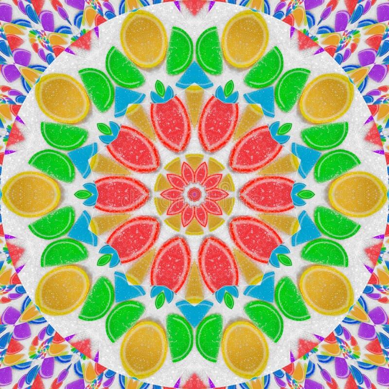 De abstracte achtergrond van het caleidoscooppatroon van de regenboog van de fruitgelei klemt plakken op de achtergrond van het w royalty-vrije stock afbeeldingen