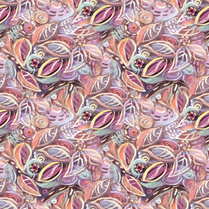 De abstracte achtergrond van het gebladerte naadloze patroon royalty-vrije illustratie