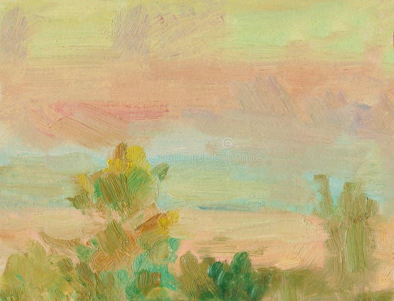De abstracte achtergrond van het olieverfschilderijlandschap Een olieverfschilderij op canvas van een romantische kleurrijke zons stock illustratie