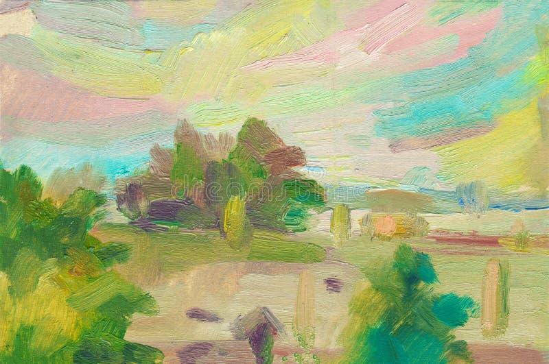 De abstracte achtergrond van het olieverfschilderijlandschap Een olieverfschilderij op canvas van een romantische kleurrijke zons vector illustratie