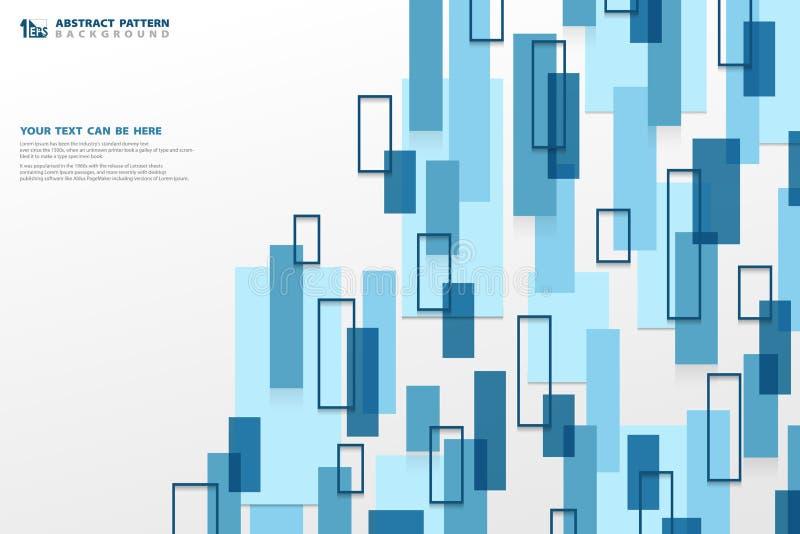 De abstracte achtergrond van het technologie moderne blauwe vierkante geometrische verticale patroon U kunt voor advertentie, aff royalty-vrije illustratie