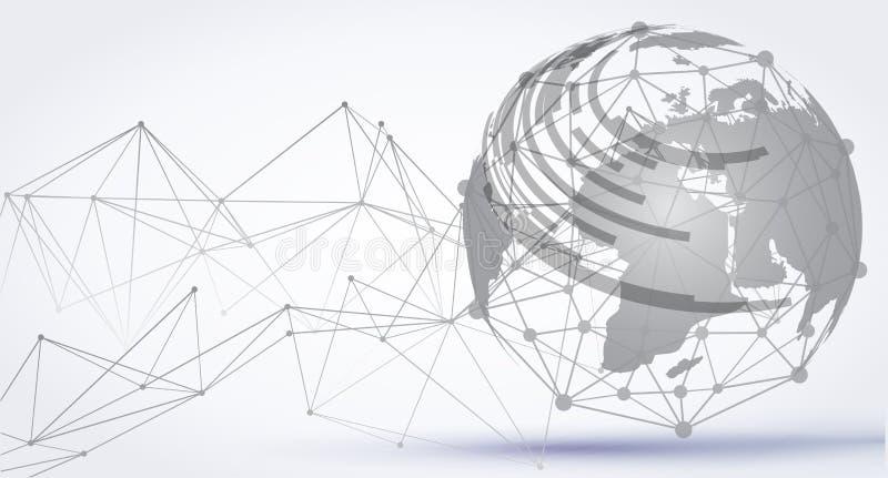 """De abstracte achtergrond van het technologiegebied Globale netwerkverbinding, internationale het betekenen concepten†""""vector royalty-vrije illustratie"""
