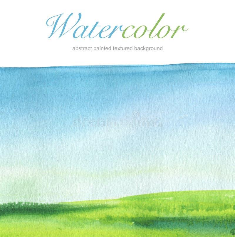 De abstracte achtergrond van het waterverfhand geschilderde landschap vector illustratie