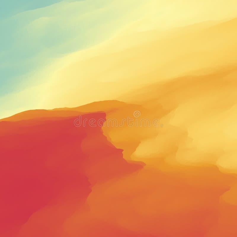 De abstracte Achtergrond van het Woestijnlandschap Vector illustratie Het duin van het zand Woestijn met duinen en bergen Woestij vector illustratie