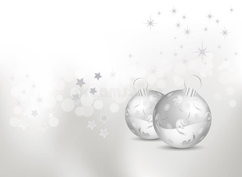 De abstracte achtergrond van Kerstmis met zilveren snuisterijen royalty-vrije illustratie
