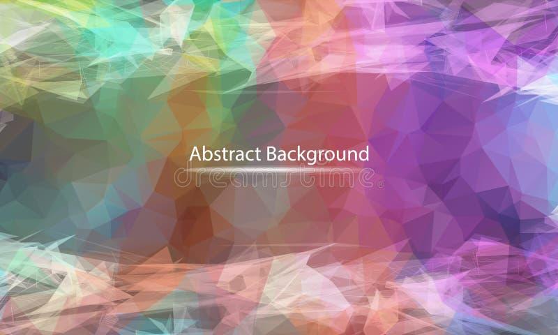 De abstracte achtergrond van de Pastelkleur veelhoekige oppervlakte Laag polynetwerkontwerp met het verbinden van punt en lijn De royalty-vrije illustratie