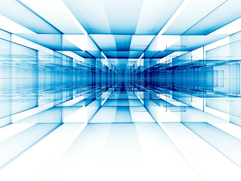 De abstracte achtergrond van de perspectieftechnologie - digitaal geproduceerd beeld vector illustratie