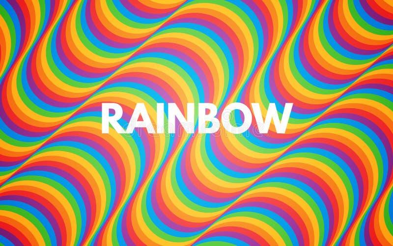 De abstracte achtergrond van de regenboog Kleurrijke textuur met heldere golven Gekleurde gebogen lijnen In achtergrond voor bann stock illustratie
