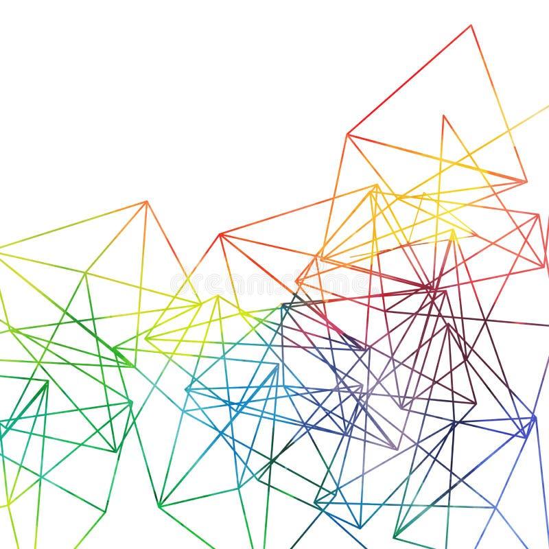 De abstracte achtergrond van regenbooglijnen, vectorwaterverftekening stock illustratie