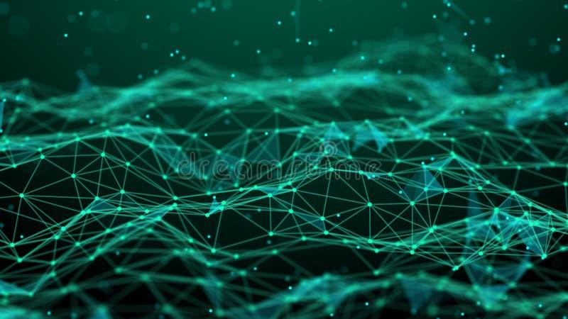 De abstracte Achtergrond van de Technologie De aansluting van het netwerk De achtergrond van de wetenschap 4k het teruggeven stock illustratie