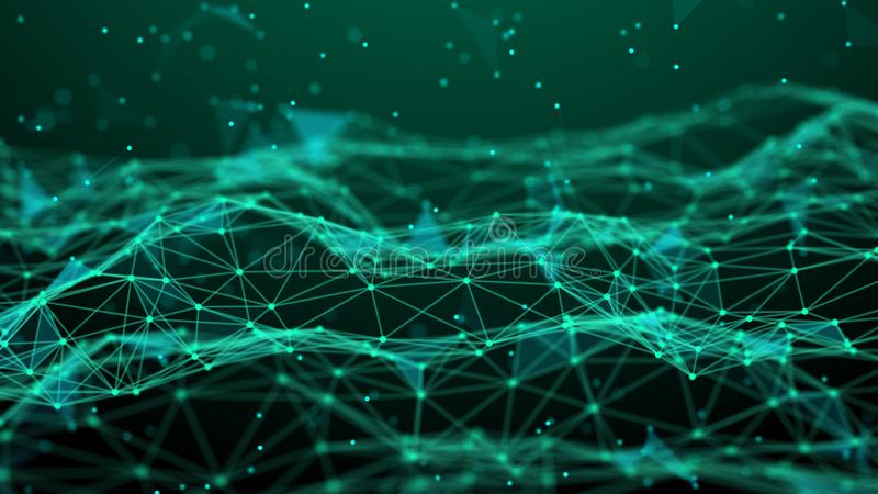 De abstracte Achtergrond van de Technologie De aansluting van het netwerk De achtergrond van de wetenschap 4k het teruggeven vector illustratie