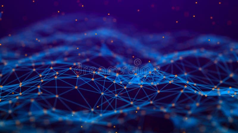 De abstracte Achtergrond van de Technologie De aansluting van het netwerk De achtergrond van de wetenschap 4k het teruggeven royalty-vrije illustratie