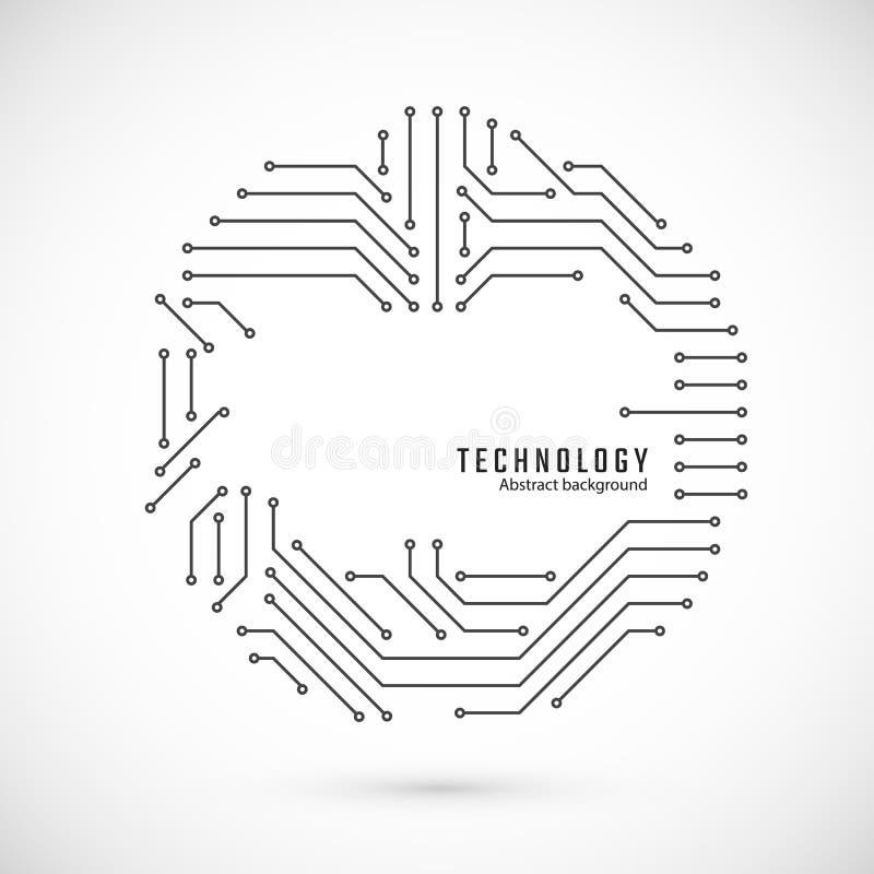 De abstracte Achtergrond van de Technologie Druk van kring De textuur van de kringsraad Vector illustratie stock illustratie
