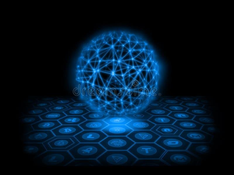 De abstracte Achtergrond van de Technologie perspectiefcrypto munt met blauwe gloeiende energie op centrum royalty-vrije illustratie