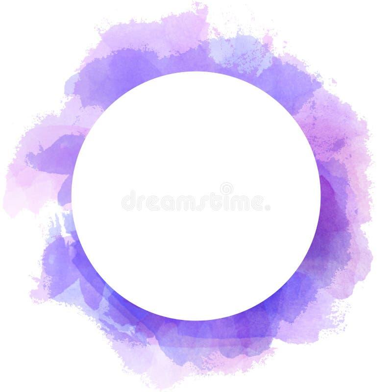 De abstracte achtergrond van de waterverfcirkel in violette en blauwe kleur Kwaststreekillustratie met ruimte van het cirkel de w vector illustratie