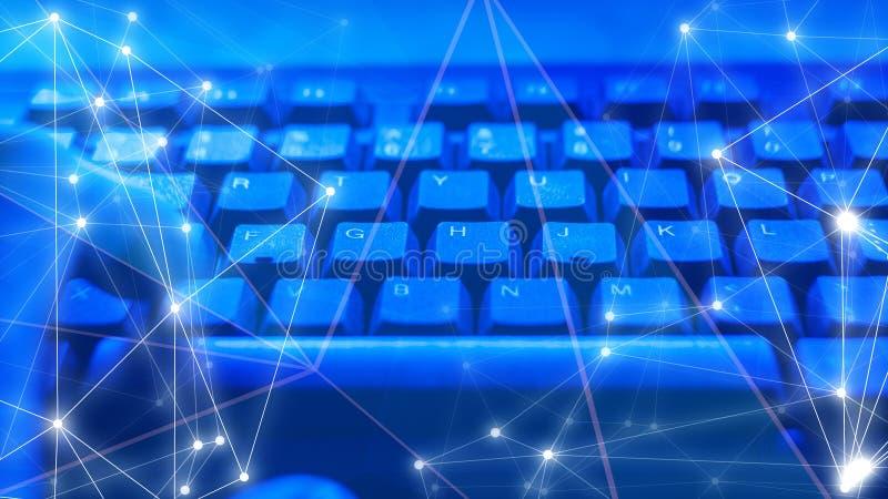 De abstracte achtergrond van wetenschapstechnologie, cybersecurityit, verbindingen abstract concept royalty-vrije stock afbeeldingen