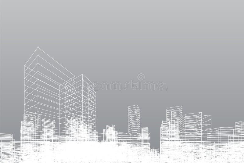 De abstracte achtergrond van de wireframestad 3D het perspectief geeft van de bouw terug wireframe Vector stock illustratie