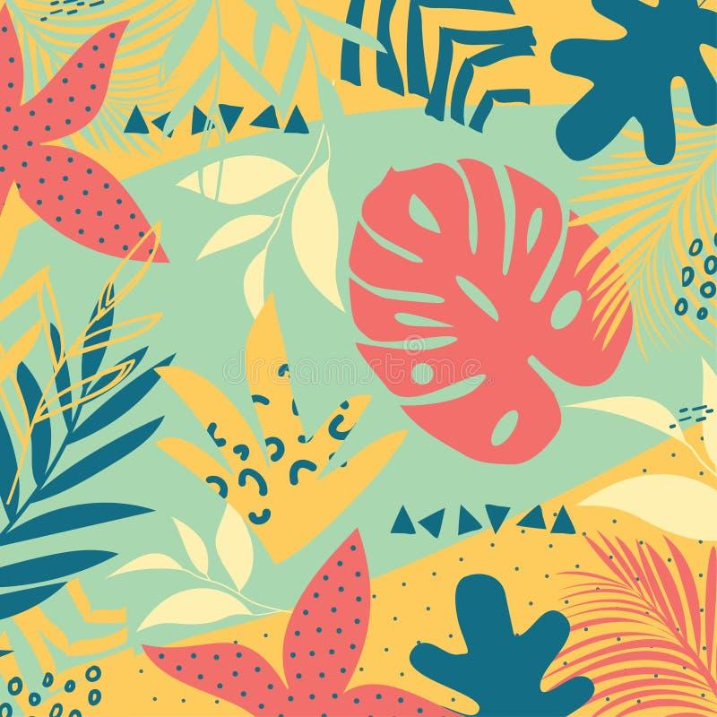 De abstracte achtergrond van de de zomertendens met heldere tropische bladeren en installaties op pastelkleurachtergrond Vector o royalty-vrije illustratie