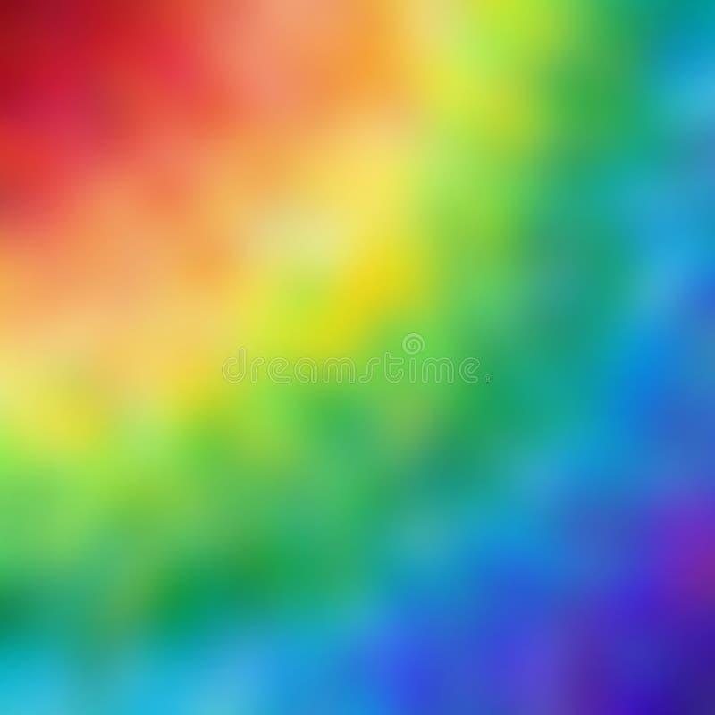 De abstracte achtergrond vertroebelt de regenboog vierkante achtergrond met kleuren van rood aan blauw stock illustratie