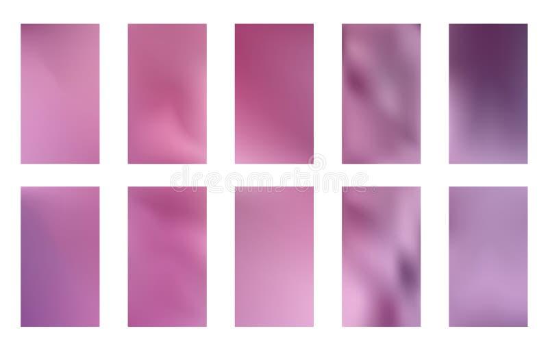 De abstracte achtergronden van het gradiëntnetwerk Vector purpere en roze vlotte bannersmalplaatjes Gemakkelijke editable in zach stock illustratie
