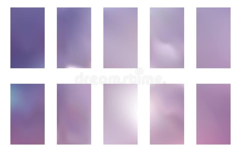 De abstracte achtergronden van het gradiëntnetwerk Vector purpere, roze en blauwe vlotte bannersmalplaatjes Gemakkelijke editable royalty-vrije illustratie