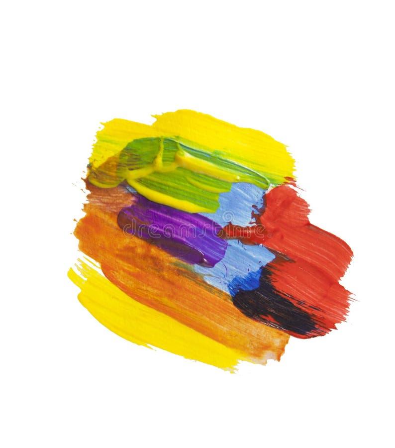 De abstracte acryltextuur van de verfvlek en waterverfplons De hand die kleurrijke acryl trekken ploetert geïsoleerd op wit royalty-vrije illustratie
