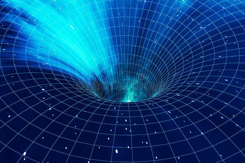 De abstracte afwijking van de snelheidstunnel in ruimte, wormhole of zwart gat, scène van het overwinnen van de tijdelijke ruimte vector illustratie