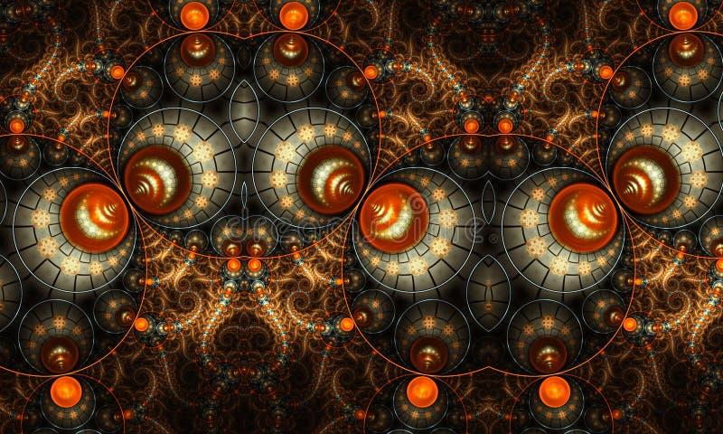 De abstracte artistieke 3d computer produceerde fractals vormen en patronenkunstwerk voor creatief ontwerp royalty-vrije illustratie