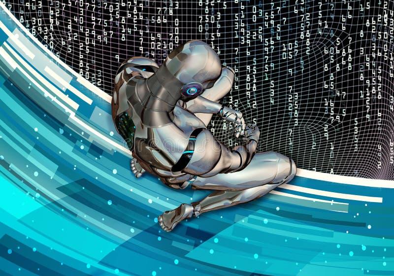 De abstracte Artistieke 3d Computer produceerde Illustratie van een Droevige Kunstmatige Intelligente Mens die in Volledige Overg royalty-vrije illustratie