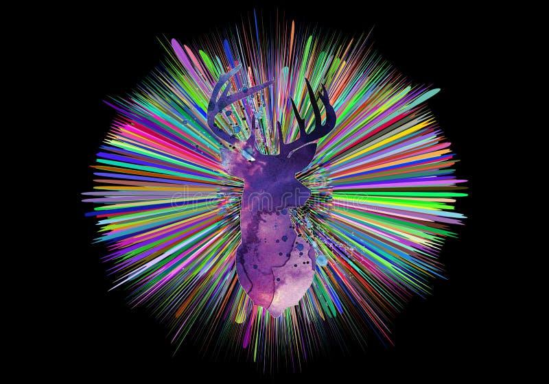 De abstracte artistieke 3d computer produceerde illustratie van multicolored stralen met een waterverfhert in het midden vector illustratie