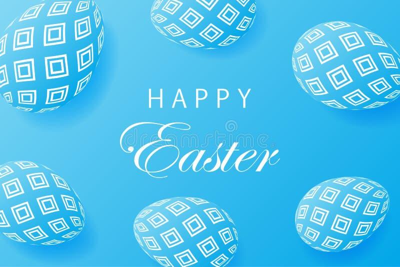 De abstracte blauwe achtergrond van Pasen Creatieve 3D eieren met patroon vector illustratie