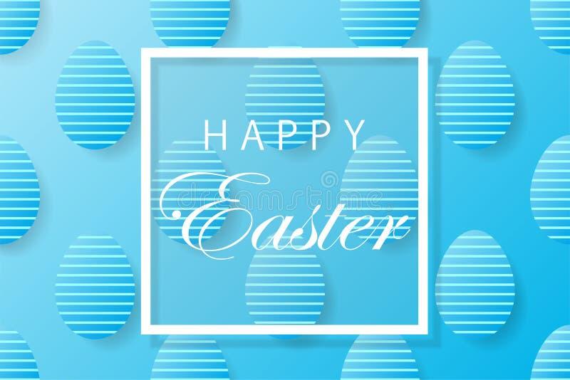De abstracte blauwe achtergrond van Pasen met wit kader voor tekst Creeer vector illustratie