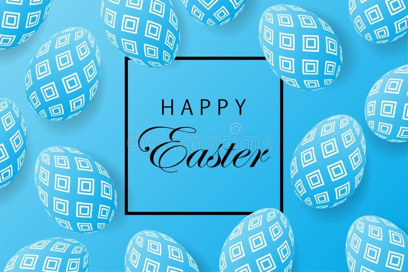 De abstracte blauwe achtergrond van Pasen met zwart kader voor tekst Creeer stock illustratie