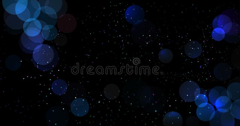 De abstracte blauwe bokehachtergrond schittert onscherpe lichten met cirkels Kerstmis of Nieuwjaar de decoratieelement van de vak stock illustratie