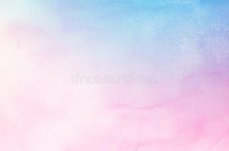 De abstracte blauwe en roze achtergrond van de pastelkleurwaterverf royalty-vrije stock afbeeldingen