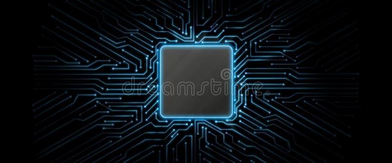 De abstracte blauwe gloeiende achtergrond van de kringsraad met exemplaarruimte op centrum voor uw tekst, embleem of producten stock illustratie
