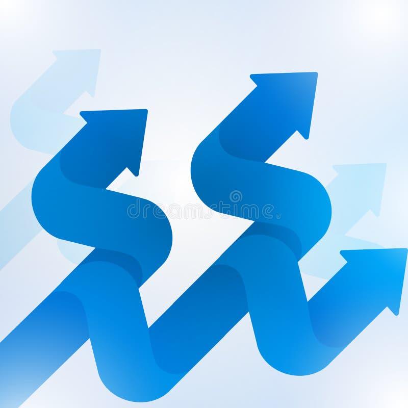 De abstracte blauwe groei van het pijlteken aan technologie achtergrond-3 royalty-vrije illustratie